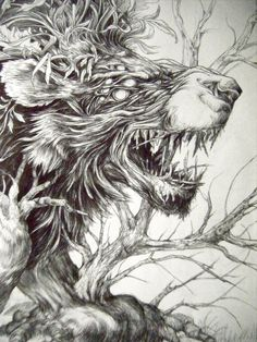 nature fantasy beast animal lion brach tree hybrid creature art illustration drawing