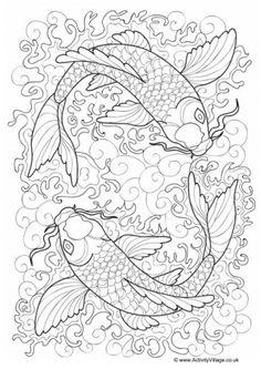 Koi Carp Colouring Page