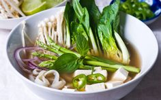 <p>This aromatic vegan pho is the perfect year round dish that is easily customizable to all tastes and preferences. Bok choy, asparagus, mushrooms, tofu, and a generous helping of rice noodles are served in an incredibly simple and healthy traditional Vietnamese broth that is all about its seasonings and garnishes.</p>