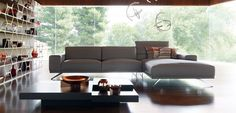 Upholstered in VERONA leather, corrected and embossed grain, pigmented finish. Contrasting stitching and overstitching on the armrests. Benjamin Moore, Verona, Roche Bobois Sofa, Home Furniture, Furniture Design, Modern Leather Sofa, Canapé Design, Composition Design, Living Room Flooring