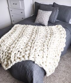 Giant Chunky Arm Knit Blanket by CreationsByKaitlan on Etsy