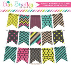 Pop of Color Bunting Clipart – Erin Bradley/Ink Obsession Designs
