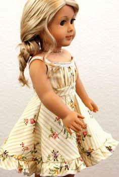 "Summer Grace Sewing Pattern By Dollhouse Designs For 18"" Dolls Sundress Dress…"