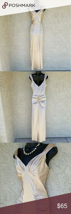 """Bora Champagne Stretch Satin Formal Dress MEASUREMENTS: Armpit - Armpit 18"""", Waist 28"""", Length 51"""".  Champagne stretch satin formal. Wide shoulder straps with ruching around the chest, Hips and waist. Zip closure on left. EUC. Bora Dresses"""