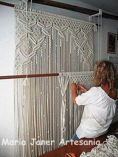 Handmade weaving....a very pretty art. Kitchen window??? I macramed a similar curtain for our bay window many many years ago