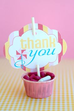 Pinwheel Party PRINTABLE DIY Birthday Thank You Tag by lovetheday, $5.00