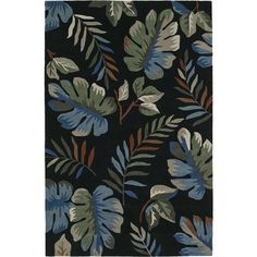 Addison Nassau Tropical Palm Night/Multi Plush Area Rug