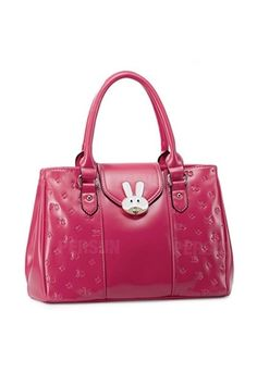 Cartoon Rabbit Series Buckled Handbag In Irish Red