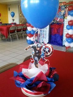 Centro de mesa - Visit to grab an amazing super hero shirt now on sale! Birthday Centerpieces, Birthday Decorations, Birthday Party Themes, Boy Birthday, Avenger Party, Captain America Party, Captain America Birthday, Superhero Baby Shower, Superhero Theme Party