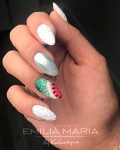 Watermelon Nails Design by NailsMania by Emilia Maria Watermelon Nail Designs, Watermelon Nails, Dope Nails, Fun Nails, Spring Nails, Summer Nails, Dream Catcher Nails, Indigo Nails, Best Salon