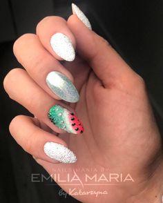 Watermelon Nails Design by NailsMania by Emilia Maria Watermelon Nail Designs, Watermelon Nails, Spring Nails, Summer Nails, Dream Catcher Nails, Indigo Nails, Best Salon, Chrome Nails, Hot Nails