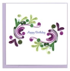 Keep it simple and classy with the Quilled Happy Birthday Swirl Card, a design featuring green and purple swirls. Our Quilled Happy Birthday Swirl card is ideal for accompanying unique gifts given to your friends and loved ones on their special day! The card also reads Happy Birthday in the center of the design. Each quilled card is beautifully handmade by a highly skilled artisan and takes one hour to create. A quilled card is meant for you to share, treasure as a keepsake, or display as the wo Quilling Birthday Cards, Paper Quilling Cards, Paper Quilling Patterns, Quilled Paper Art, Quilling Flowers, Quilling Letters, Quilling Animals, Happy Birthday For Her, Happy Birthday Cards