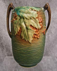 Roseville Pottery Bushberry Vase #31-7, Green, Ca. 1941