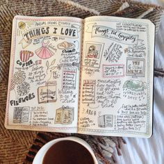 "Happy Wednesday!! Hope you're having a great week. I've had a bad cold since Saturday and am stuck inside. Here's a double page I drew a while back and water-coloured last night to relax. Introducing myself to all the new folks who've decided to tag along (hi there guys!! ) and as Kathleen Kelly says in You've Got Mail: ""my head is starting to get fuzzy"". So time for some cozy ☕️ ! #myfavouritethings #meettheartist"