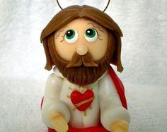 Sagrado Coração de Jesu - 7 cm de altura  http://www.elo7.com.br/atelierclaudiaaparecida