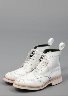 Trickers for Triads Stow Brogue Boots White High Leather Boots, High Ankle Boots, Leather Brogues, Long Boots, Suede Boots, Calf Leather, White Leather, Suede Leather, Leather Shoes