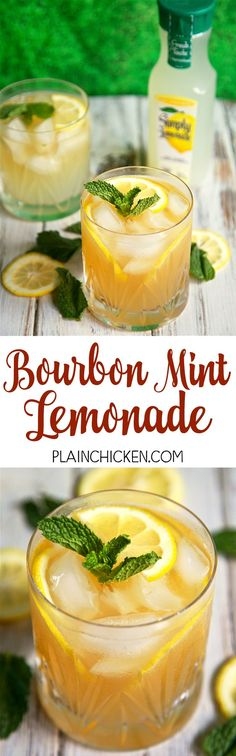 Bourbon Mint Lemonade - our Signature Summer Cocktail! Only 3 ingredients - bourbon, mint and Simply Lemonade. So light and refreshing! Mix up a pitcher for your next summer BBQ!