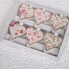 I LOVE the idea of having vintage heart pegs.what could I use them for and could I make them with thick card with a vintage pattern? Heart Diy, Wedding Table Decorations, Valentine Day Cards, Valentines, Wedding Place Cards, Fabric Covered, Christmas Themes, Cardmaking, Personalized Gifts