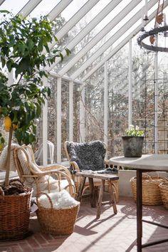 Swedish Interiors, Swedish House, Greenhouse Gardening, Outdoor Living, Outdoor Decor, Terrace Garden, Glass House, Raised Garden Beds, Winter Garden