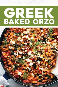 Lightly tomato-sauced orzo baked in a skillet with red peppers, kale, chicken - or chickpeas - and a topping of feta, lemon juice, and fresh dill. Orzo Recipes, Greek Recipes, Vegetarian Recipes, Chicken Recipes, Cooking Recipes, Healthy Recipes, Recipes Dinner, Risoni, Office Food