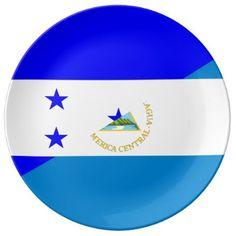 #country - #honduras nicaragua half flag country symbol porcelain plate