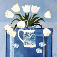 White Tulips by Jill Leman, Fine Art Greeting Card, Acrylic on Board, White tulips in blue and white vase