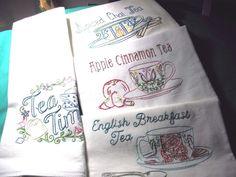 SET OF 4 - TEA TIME - New hand embroidered 30 X 30 flour sack dish towel #Handmade