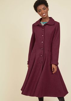 Elegance of the Era Coat in Wine. Embody the class and sophistication of bygone times with this gorgeous burgundy coat. #red #modcloth
