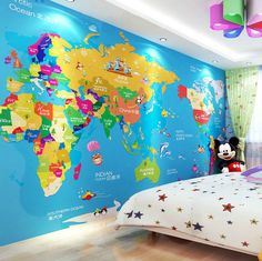 Giant world map mural blue ocean playrooms bedrooms and room gumiabroncs Image collections