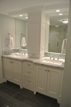 Remodel double sink Double Vanity Storage Tower Love The Doors On The Sides bathroom counter storage. Double Vanity Storage Tower Love The Doors On The Sides bathroom counter storage tower Bathroom Renos, Bathroom Renovations, Bathroom Ideas, Master Bathrooms, Remodel Bathroom, Restroom Remodel, Modern Bathrooms, Budget Bathroom, Restroom Ideas