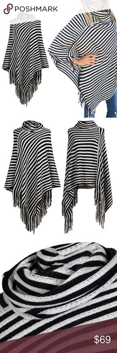New Fringe Poncho! This is a great addition to any girls Fall or Winter Wardrobe. Unique side fringe with a black and white stripe design. this is a one size fits all item. Trend Setter Diva Boutique Jackets & Coats