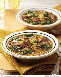 Pair this soul-warming Beef, Barley & Kale Soup with the fresh Red Pepper-Stuffed Portobellos for the perfect winter meal.