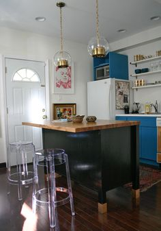 2nd view - space smart, petite kitchen (bright blue & fun cabinets - open shelves)
