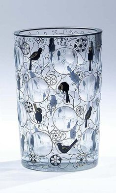 Bohemian Glass Covered Jar, Haida Steinschonau ca 1915. Up for auction is my authentic, early 20th Century Bohemian covered jar. (236×393)