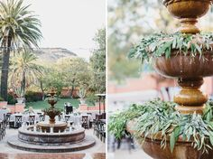 fountain with leaves