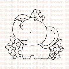 Digital stamp  Friends  Elephant & Mouse by BirdieBrown on Etsy, $2.50