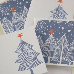lino print christmas cards grey board, cut out Handprint Christmas Tree, Diy Christmas Cards, Christmas Design, Homemade Christmas, Xmas Cards, Christmas Art, Holiday Cards, Chrismas Cards, Christmas Patterns