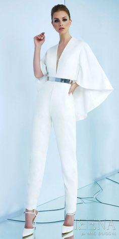 054adfd7a4e3 Mac Duggal Plunging V-shape Cape Back Belted Jumpsuit Wedding Jumpsuit