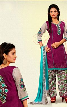 Picture of Fashionable Eggplant, off White and Wine Color Indian Salwar Suit