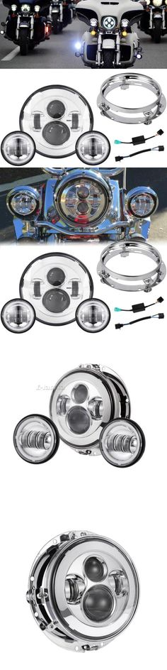 motorcycle parts: 7 Chrome Led Projector Daymaker Headlight + Passing Lights For Harley Touring -> BUY IT NOW ONLY: $135.55 on eBay!