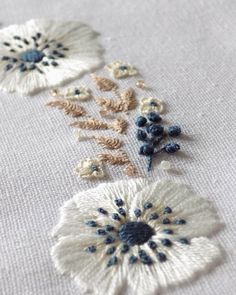 anemones floral wreath embroidery