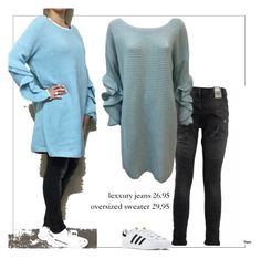 """""""bleu sweater"""" by bellino on Polyvore featuring mode en adidas"""