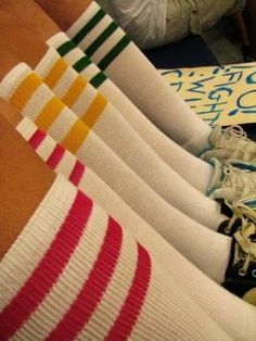 striped tube socks...WHO REMEMBER'S WEARIMG THESE..WHATS D IS BECOMING NEW