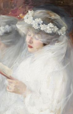 """books0977:  The First Communion. Dmitri Iosifovich Kiplik (Russian, 1865-1942), Oil on canvas. """"When we work hard, we must eat well. What a ..."""