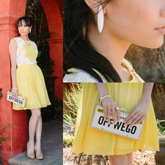 Ted Baker Yellow Dress, Kate Spade License Plate Clutch, White Earrings, Anthropologie Nude Heels, White Bracelet