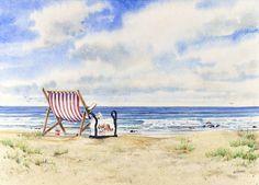OCEAN'S EDGE, seascape watercolor by Thomas A Needham