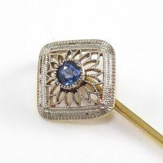 Vintage Antique 14K Yellow White Gold Blue Sapphire Filigree Hat Stick Pin
