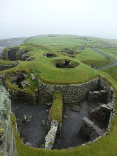 Jarlshof, Scotland, Bronze Age settlement  It contains remains dating from 2500 BC up to the 17th century AD