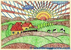 Ejemplo de punteado Doodle Drawings, Easy Drawings, Arte Elemental, Drawing Lessons For Kids, Keys Art, Paper Flowers Diy, Teaching Art, Elementary Art, Applique Designs
