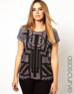 ASOS CURVE Exclusive T-Shirt With Art Deco Print Plus Size